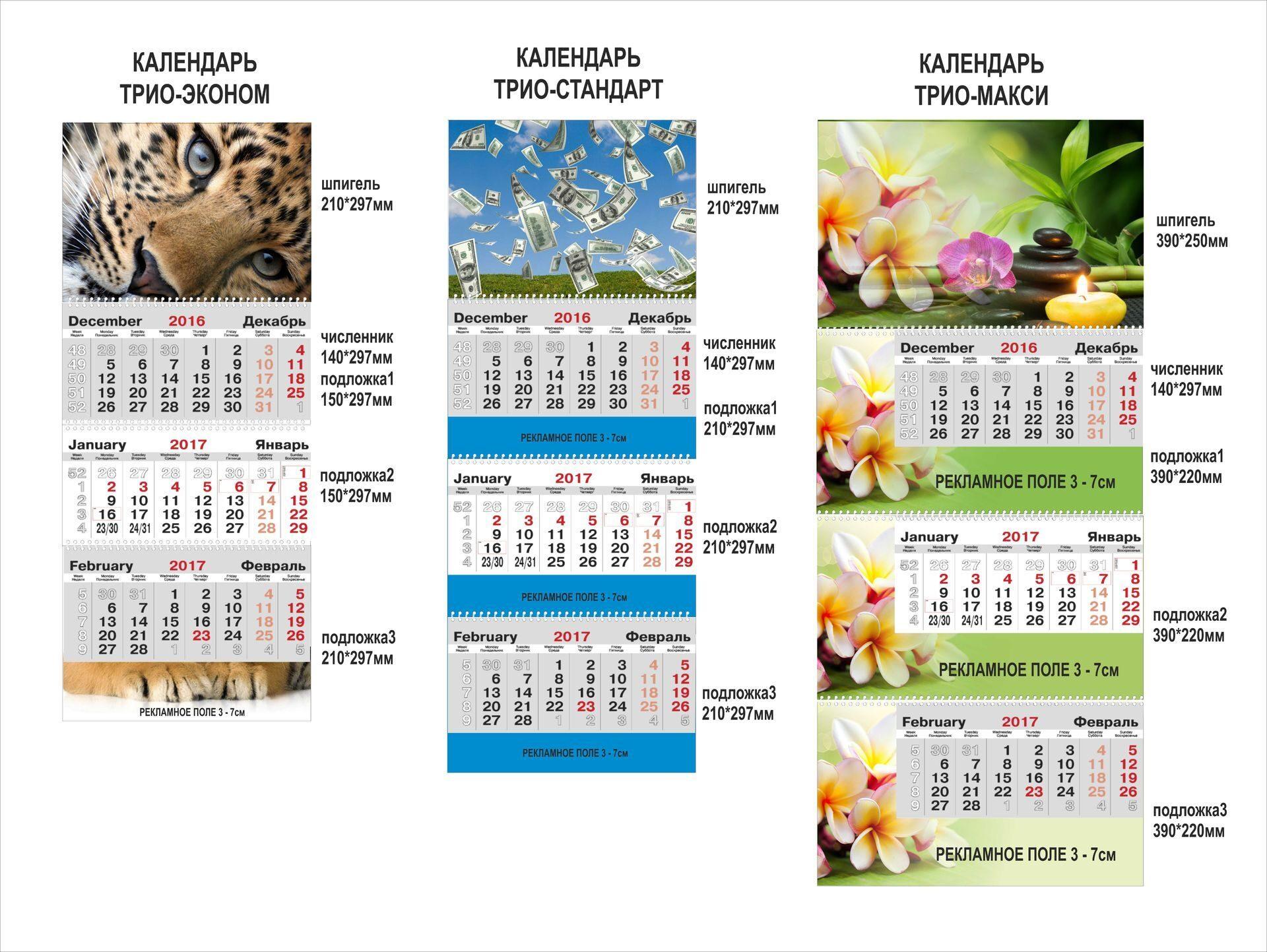 Составляющие трио-календаря
